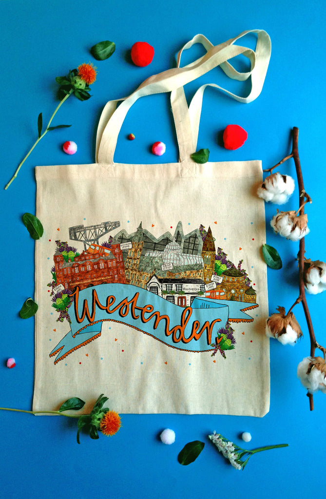 Westender West End of Glasgow Landmarks Tote Bag