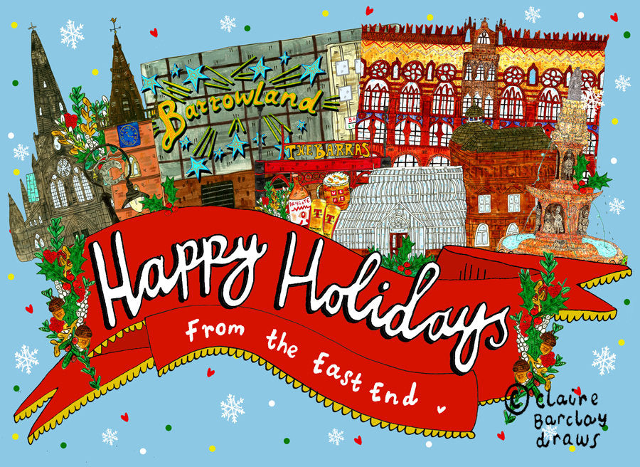 Happy Holidays From the East End of Glasgow Christmas Greetings Card, Glasgow East End Xmas Card