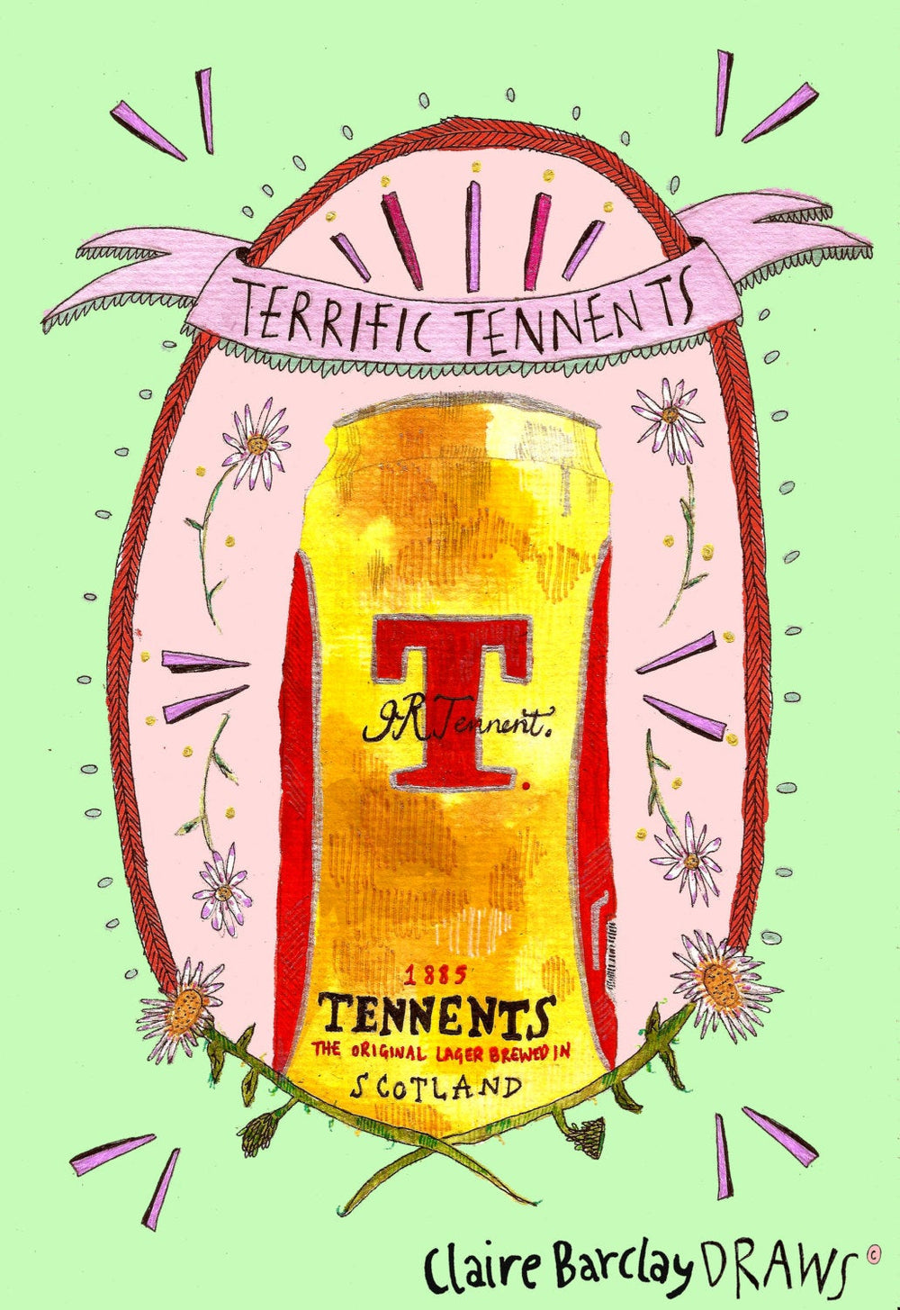 Terrific Tennents Illustration Print