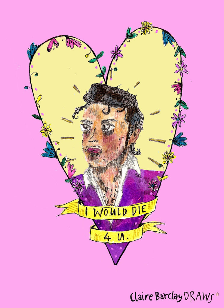 I WOULD DIE 4 U Prince Illustration, Prince Typography Song Lyrics Illustration