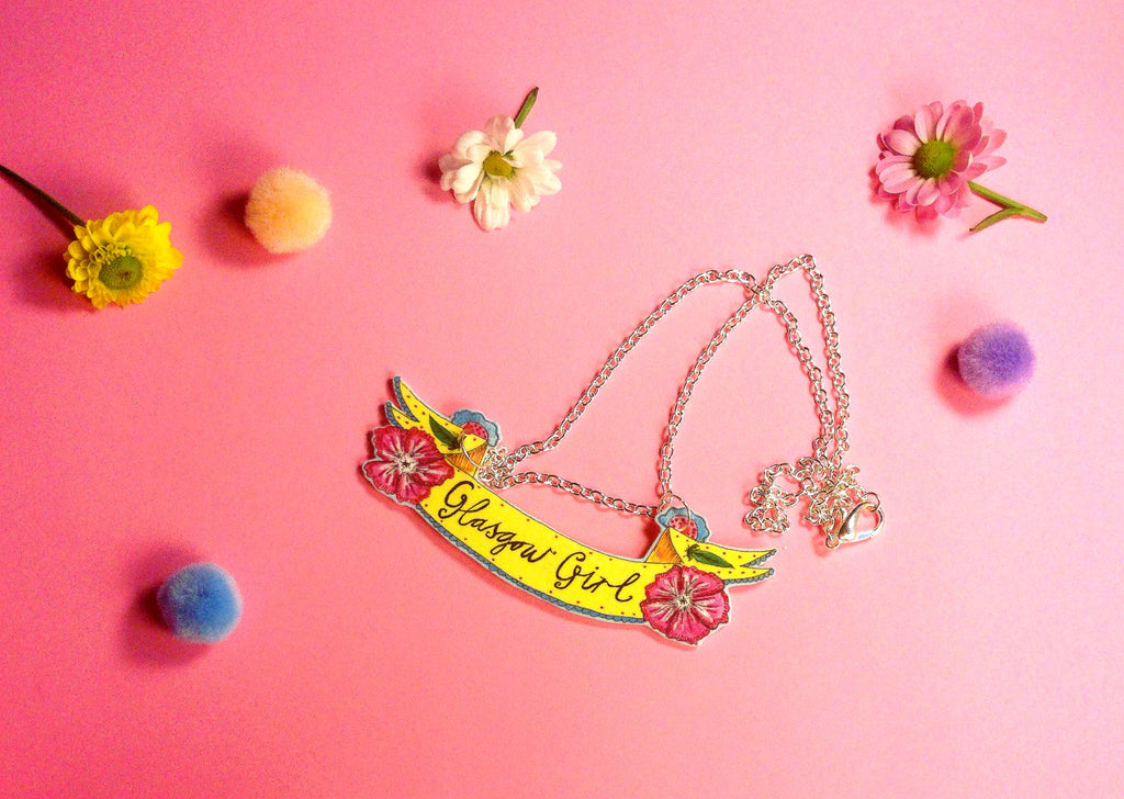 Glasgow Girl Floral Banner Necklace, Scottish Typography Illustration, Cute Scottish Jewellery