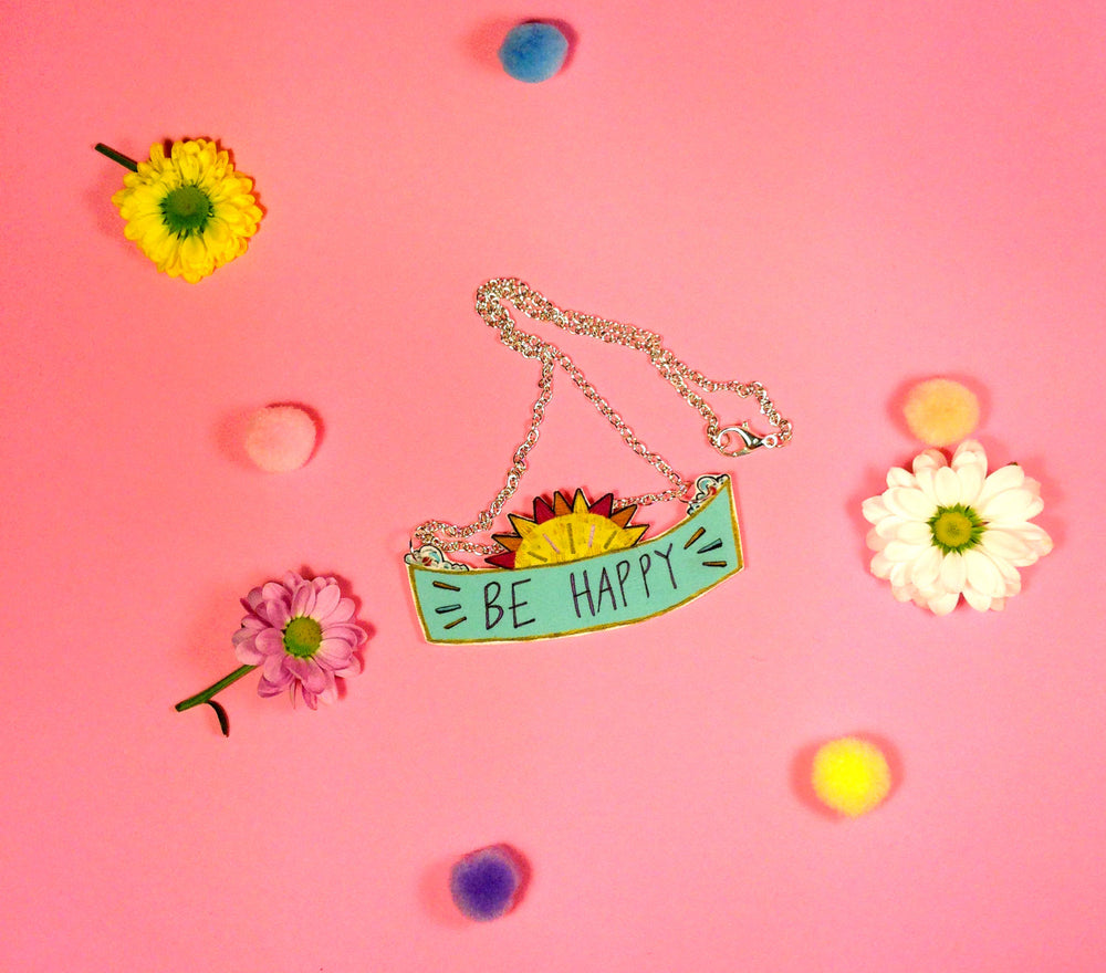 Be Happy Illustrated Necklace, Typography Sunshine Jewellery, Sunny Positive Message, Quirky Illustrated Necklace, Cute Plastic Jewellery