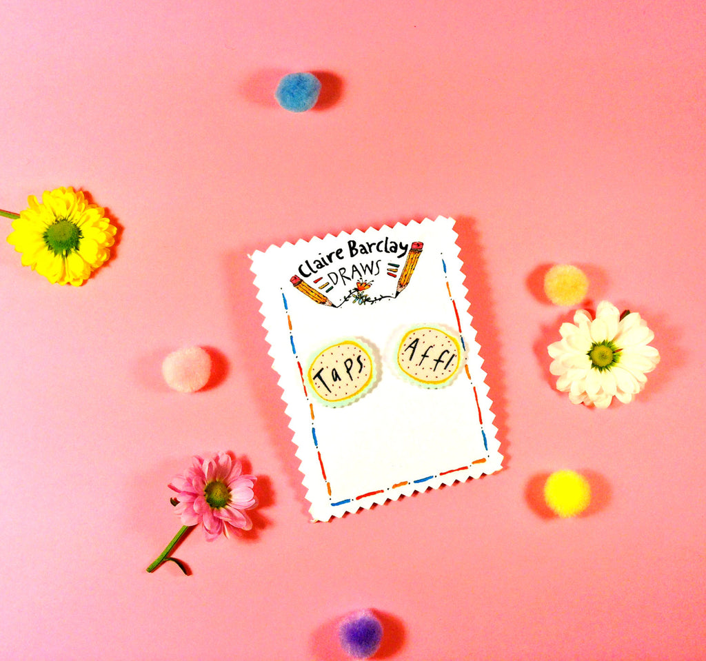 Taps Aff! Illustrated Earrings, Typography Hand Drawn Earrings, Quirky Plastic Stud Post Earrings, Scottish Gifts/ Slang/ Humour