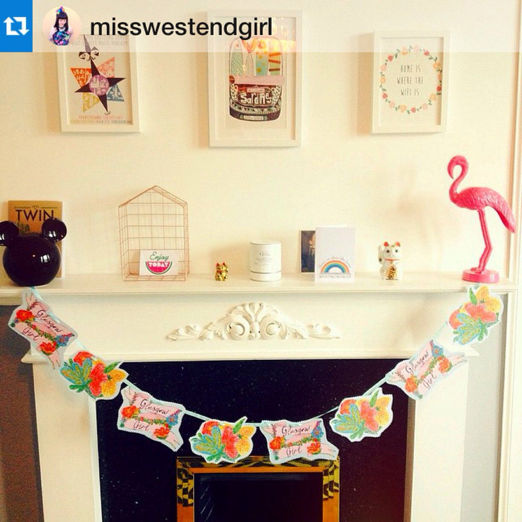 GLASGOW GIRL Illustrated Bunting