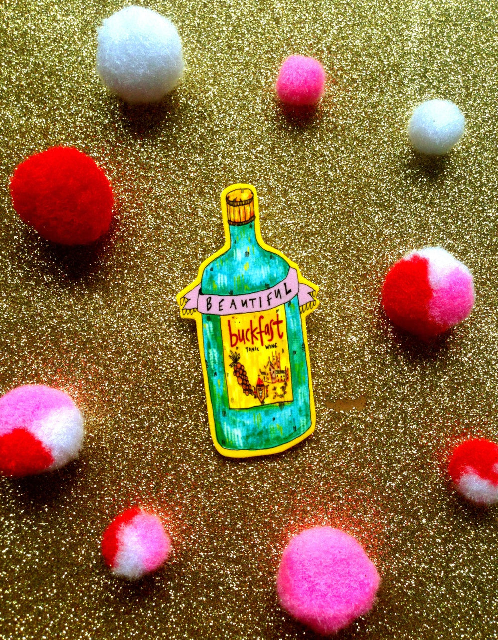 Beautiful Buckie Boozy Brooch, Quirky Pin Badge. Perfect for Party Fun!