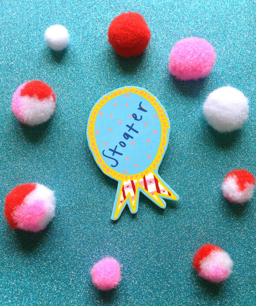 STOATER Rosette Brooch, Cute Cheeky Humour Scottish Slang Jewellery Pin Badge