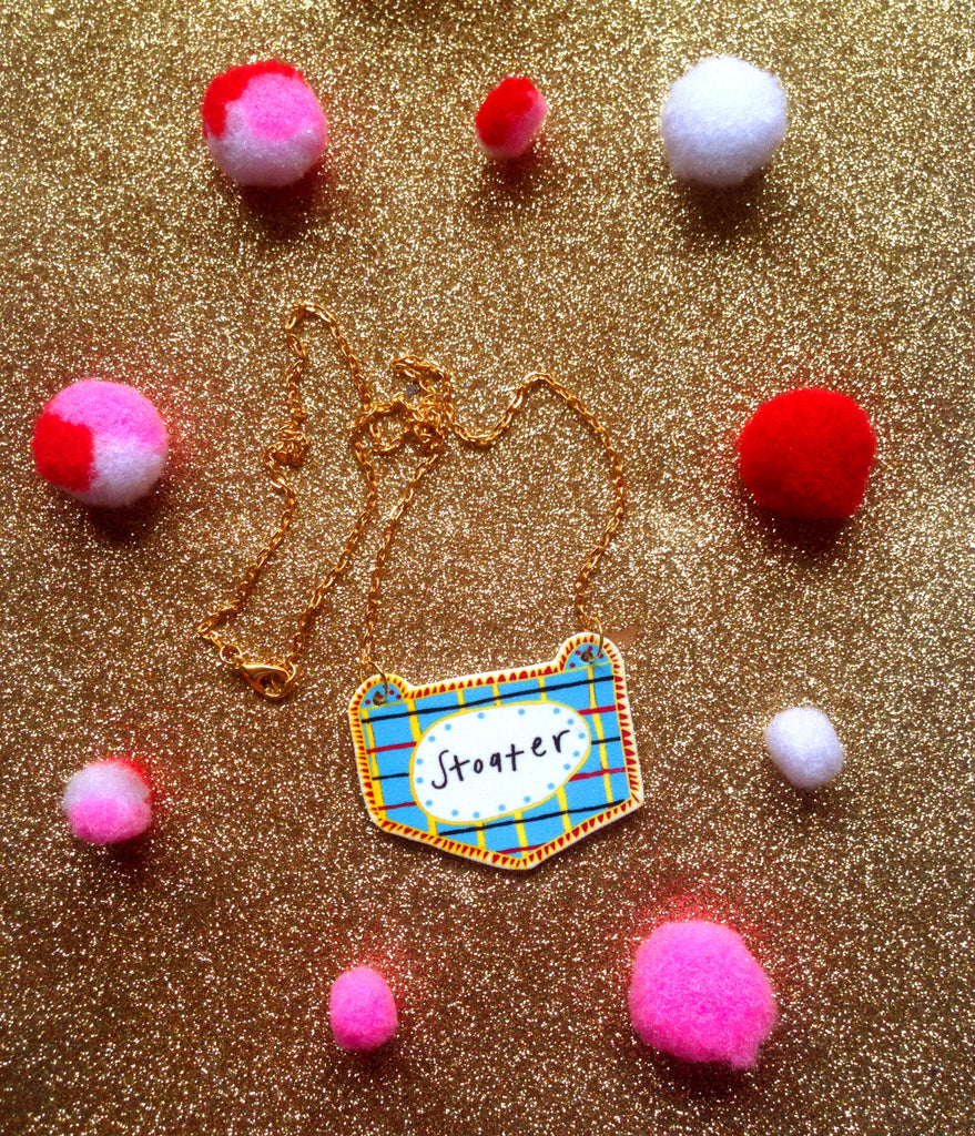 STOATER Illustrated Necklace, Scottish Slang Quirky Fun Jewellery on Gold Plated Chain