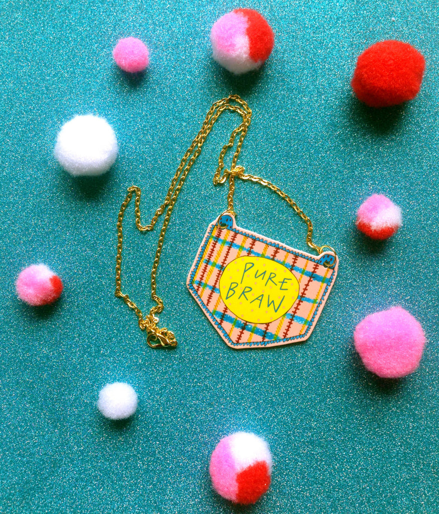 PURE BRAW Illustrated Necklace, Scottish Slang Quirky Fun Jewellery on Gold Plated Chain