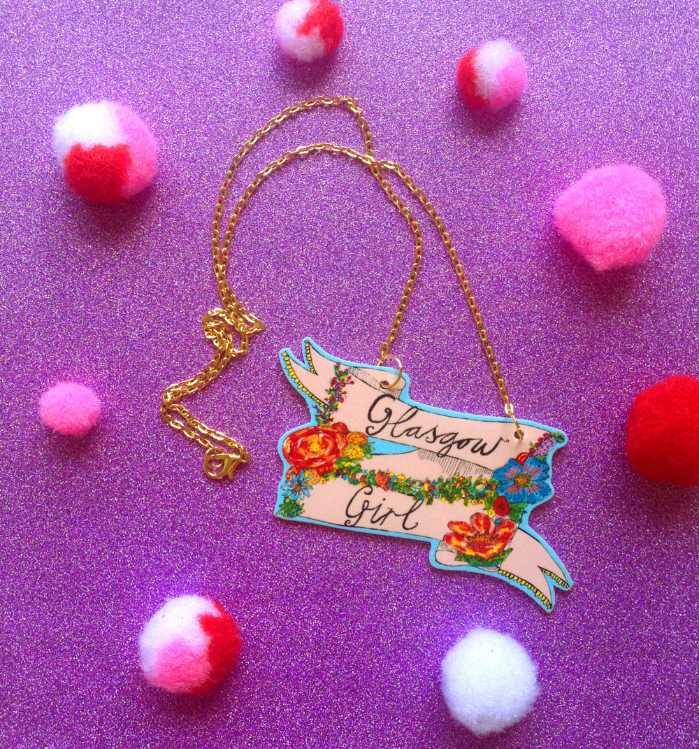 GLASGOW GIRL Illustrated Necklace On Gold Plated Chain, Floral Cute Girly Jewellery, Quirky Scottish Gift