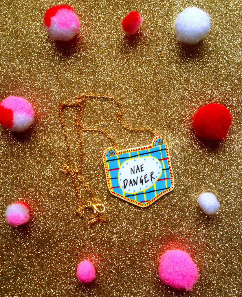 NAE DANGER Illustrated Necklace, Scottish Slang Quirky Fun Jewellery on Gold Plated Chain