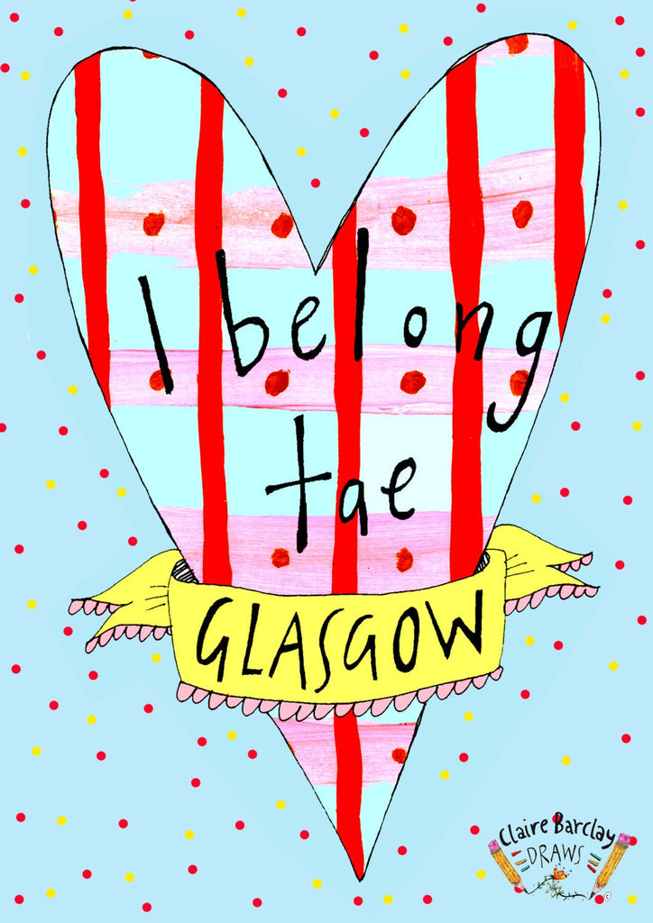 I Belong Tae Glasgow Tote Bag, Illustrated Cotton Shopper Bag for a Proud Glaswegian!