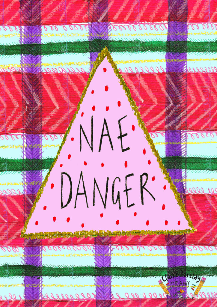 NAE DANGER Tote Bag, Scottish Slang Phrase Illustrated Tote, Tartan Quirky Typography Cotton Shopper