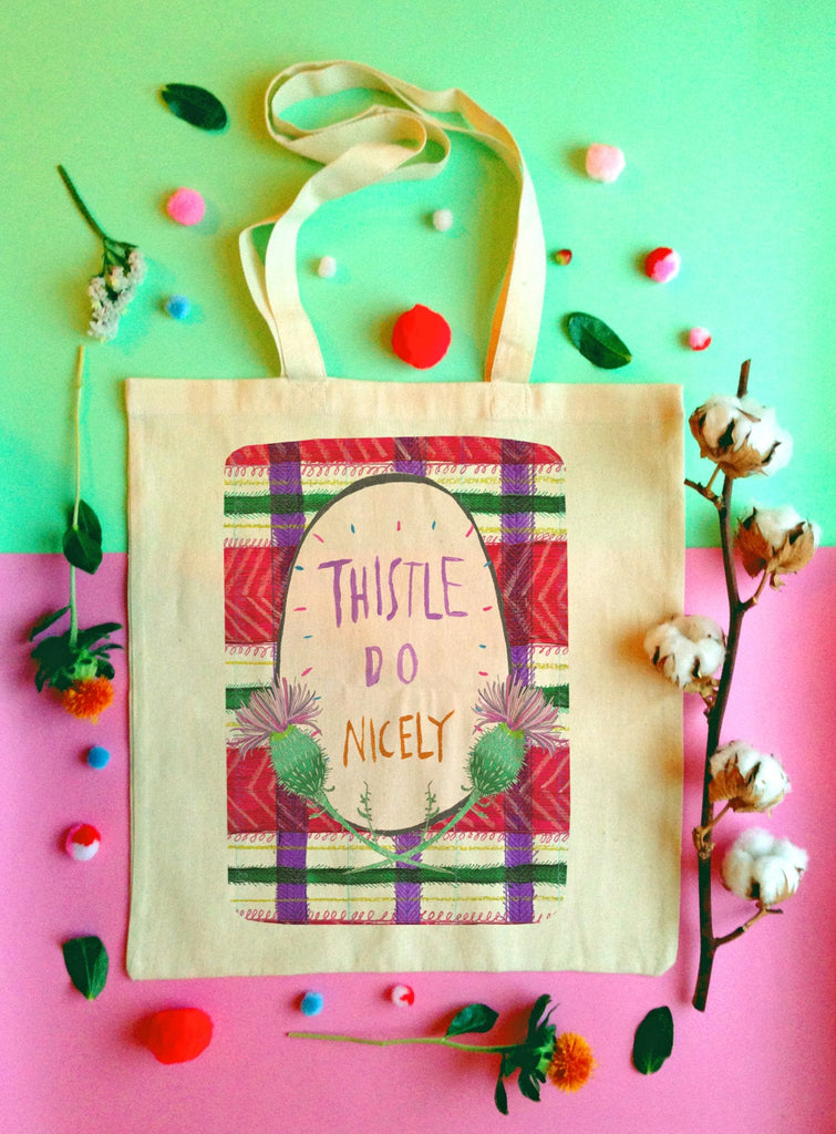 Thistle Do Nicely Tote Bag, Scottish Slang Humour Cotton Shopper Bag