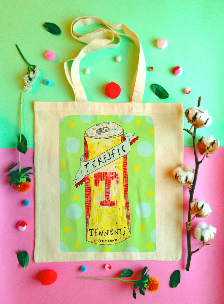 Terrific Tennents Illustrated Tote Bag, Boozy Fun Shopper Bag, Beer Humour Handmade Tote