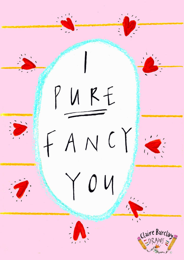 I PURE FANCY YOU Valentines Greetings Card, Scottish Slang Typography Valentines Card, Humour Funny Valentine, Quirky Romance Card