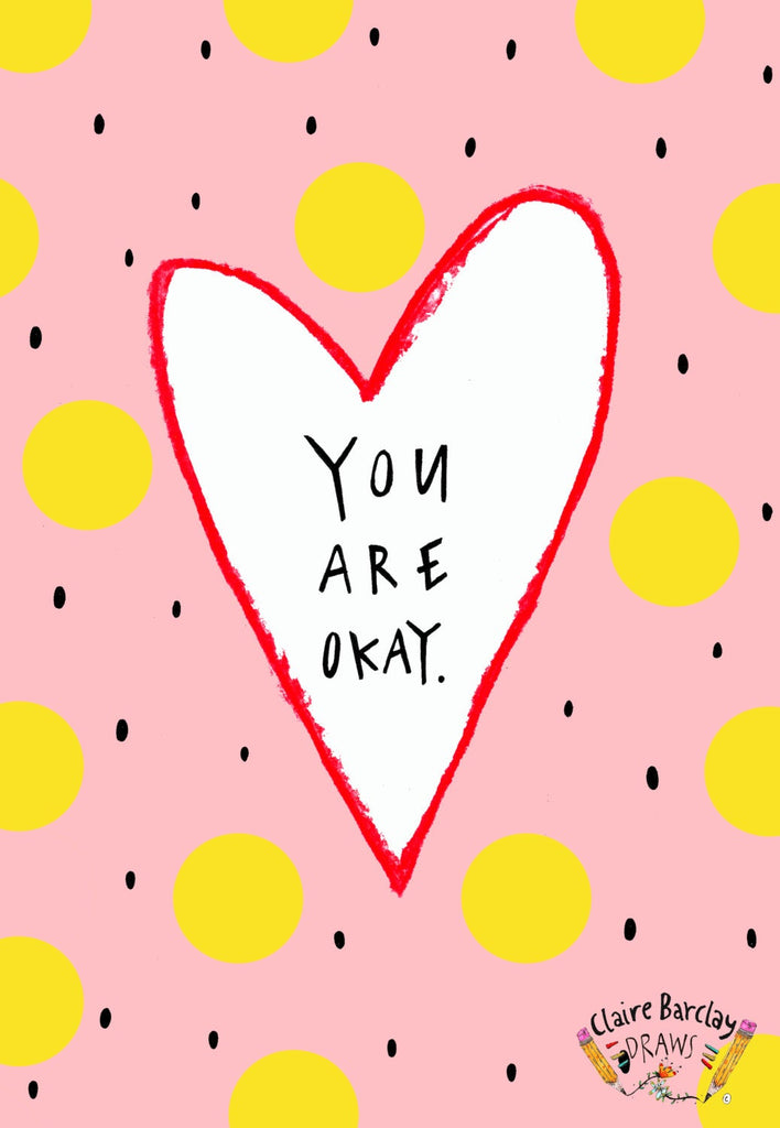 YOU ARE OKAY Valentines Greetings Card, Cheeky Typography Valentines Card, Humour Funny Valentine, Quirky Not too Romantic Card