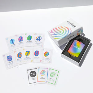 The Enneagame box opened with Enneagram cards sitting in a plastic insert. Enneagame cards 1-9, Identity Crisis, Self Discovery, and Growth are fanned out on the table.