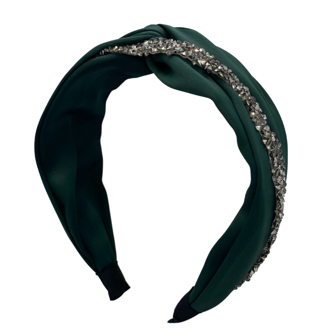 MUM's CORNER - EWA TWIST EMBELLISHED HEADBAND IN MATTE SATIN