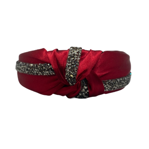 MUM's CORNER - ADE KNOT EMBELLISHED HEADBAND IN GLOSS SATIN