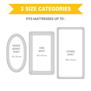 Mane Satin and Organic Jersey Cotton Cotbed Fitted Sheet