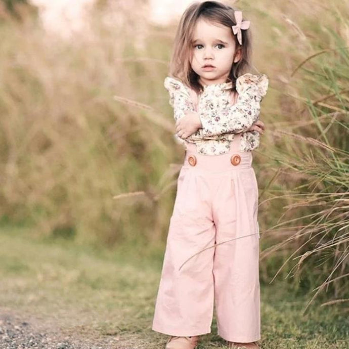 Floral Ruffle Top & Overalls