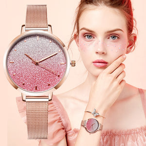 Women Starry Sky Mesh Watch