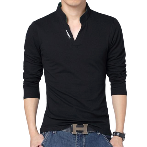 Slim Fit V-Neck Long Sleeve Shirt