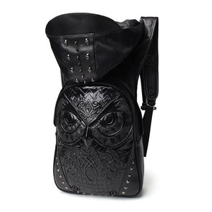 Owl Rivet Embossed Backpack with Hood