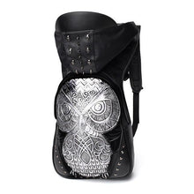 Load image into Gallery viewer, Owl Rivet Embossed Backpack with Hood