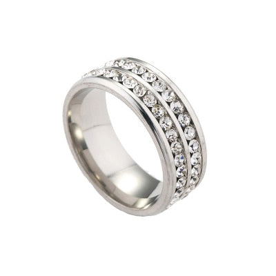 Double Row Crystal Ring