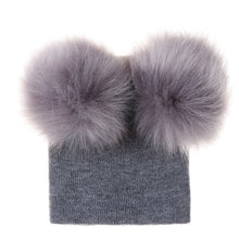 Load image into Gallery viewer, Fur Double Pom Pom Beanie