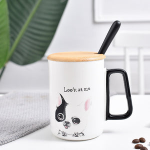 Cat Mug with Lid and Spoon