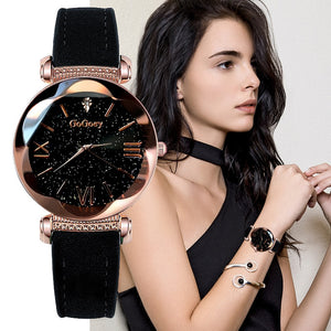 Womens Starry Sky Leather Watch