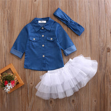 Load image into Gallery viewer, Denim Shirt & Tutu Set