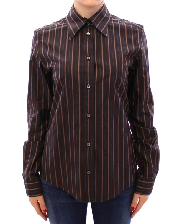 Black Striped Cotton Button Down Shirt