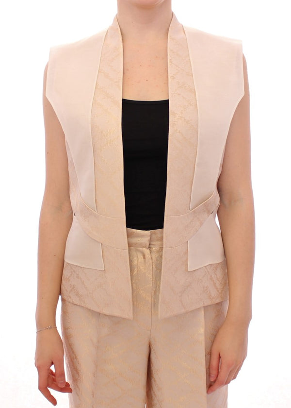 Beige brocade sleeveless jacket vest