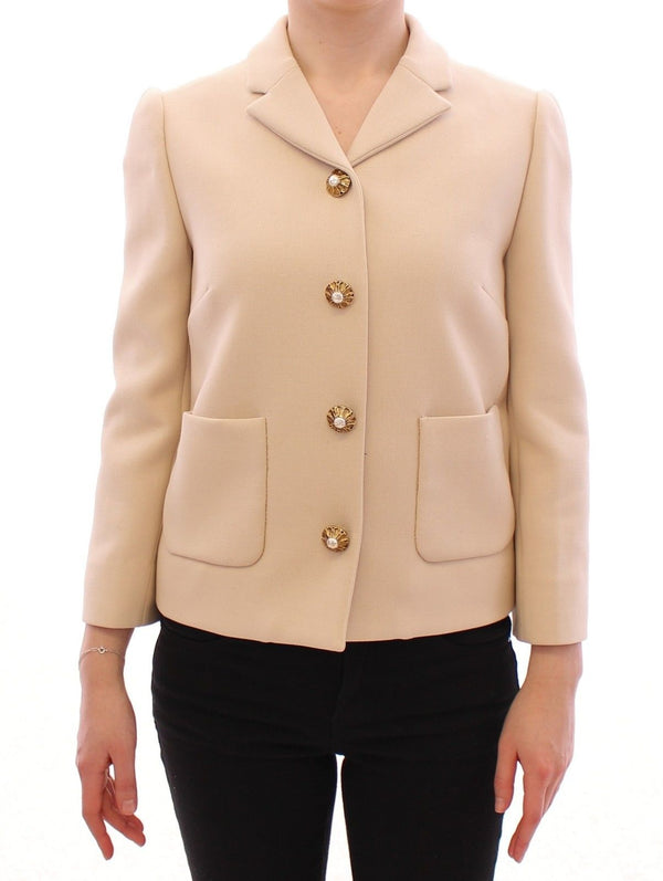 Beige Wool Pearl Button Jacket Blazer Coat