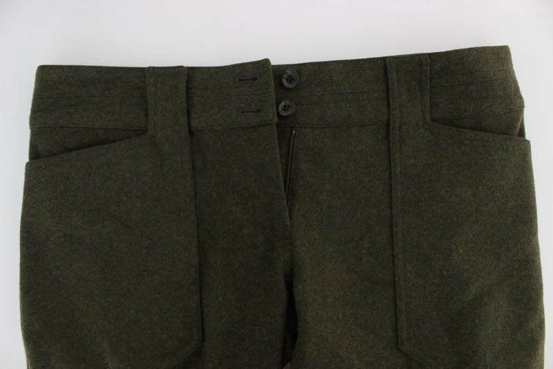 Green Wool Blend Loose Fit Cargo Pants