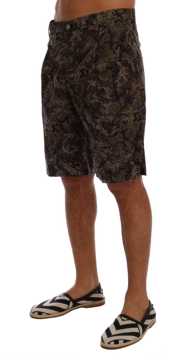 Black Green Cotton Military Pattern Shorts