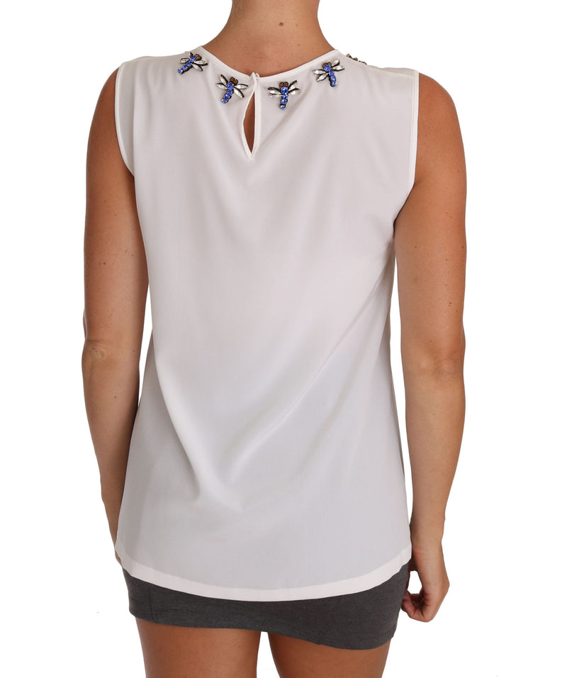White Silk Crystal Embellished Fly T-shirt