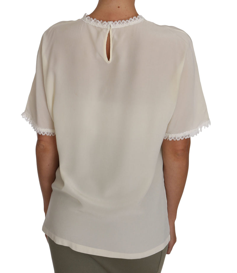 White Cream Silk Lace Top Blouse T-Shirt