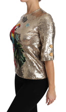 Gold Sequined Parrot Crystal Blouse