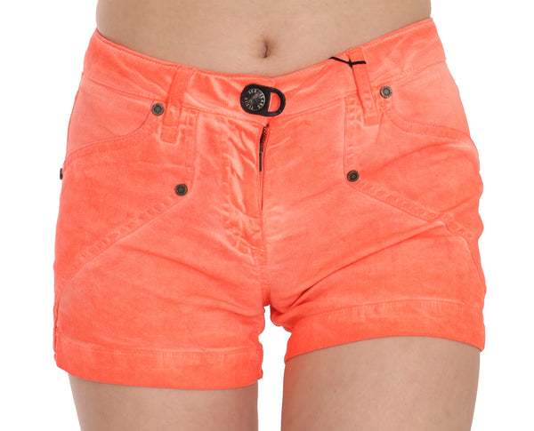 Orange Mid Waist Cotton Denim Mini Shorts