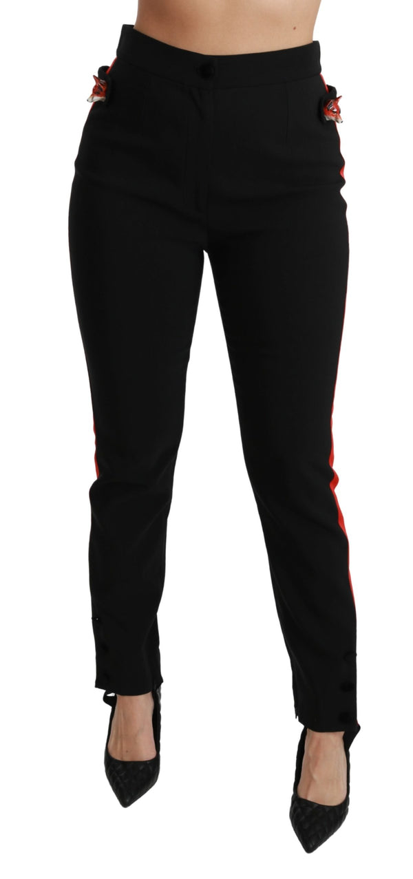 Black Skinny Stretch Fox Head Cotton Pants