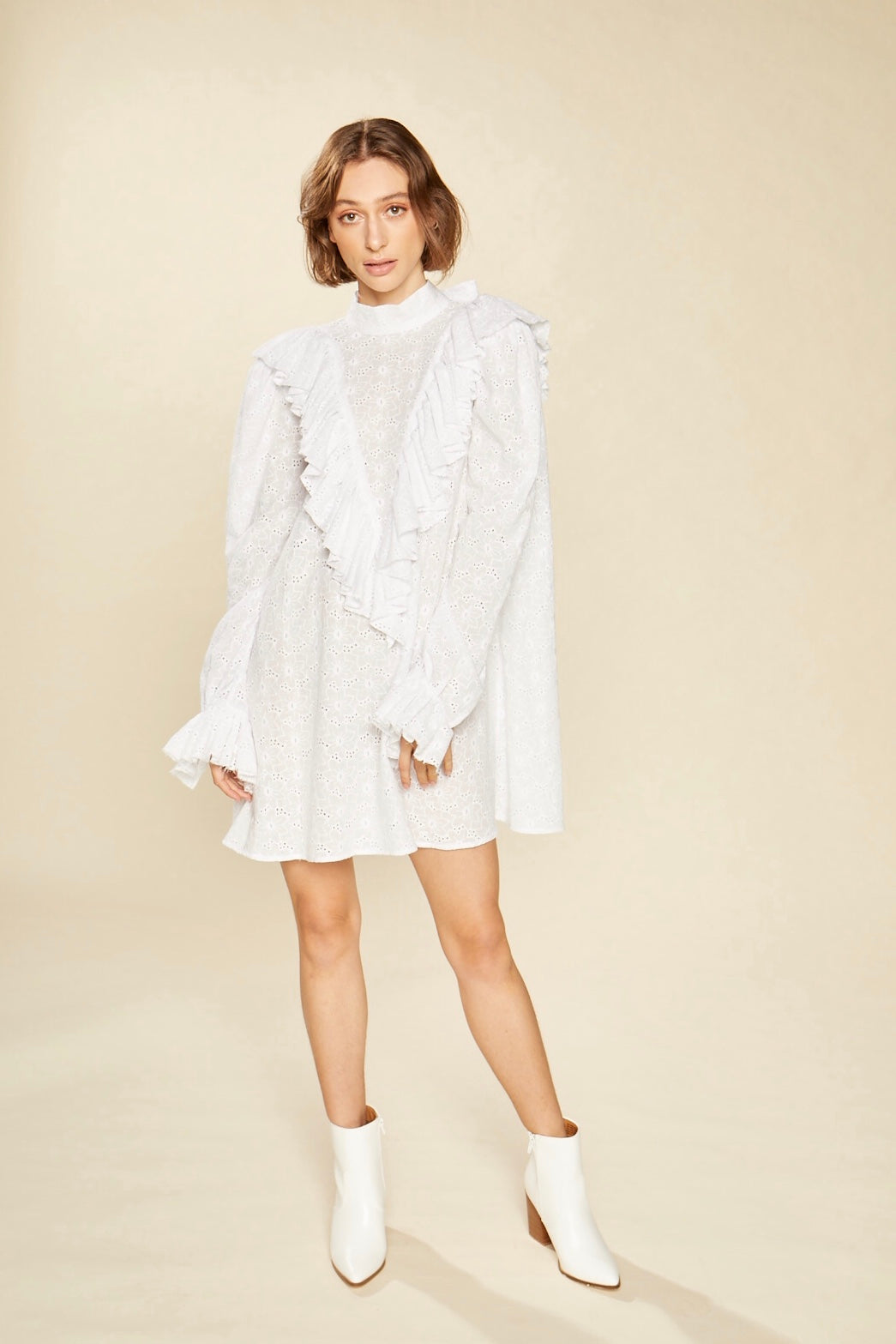 Daisy White Ruffle Broderie Anglaise Mini Dress