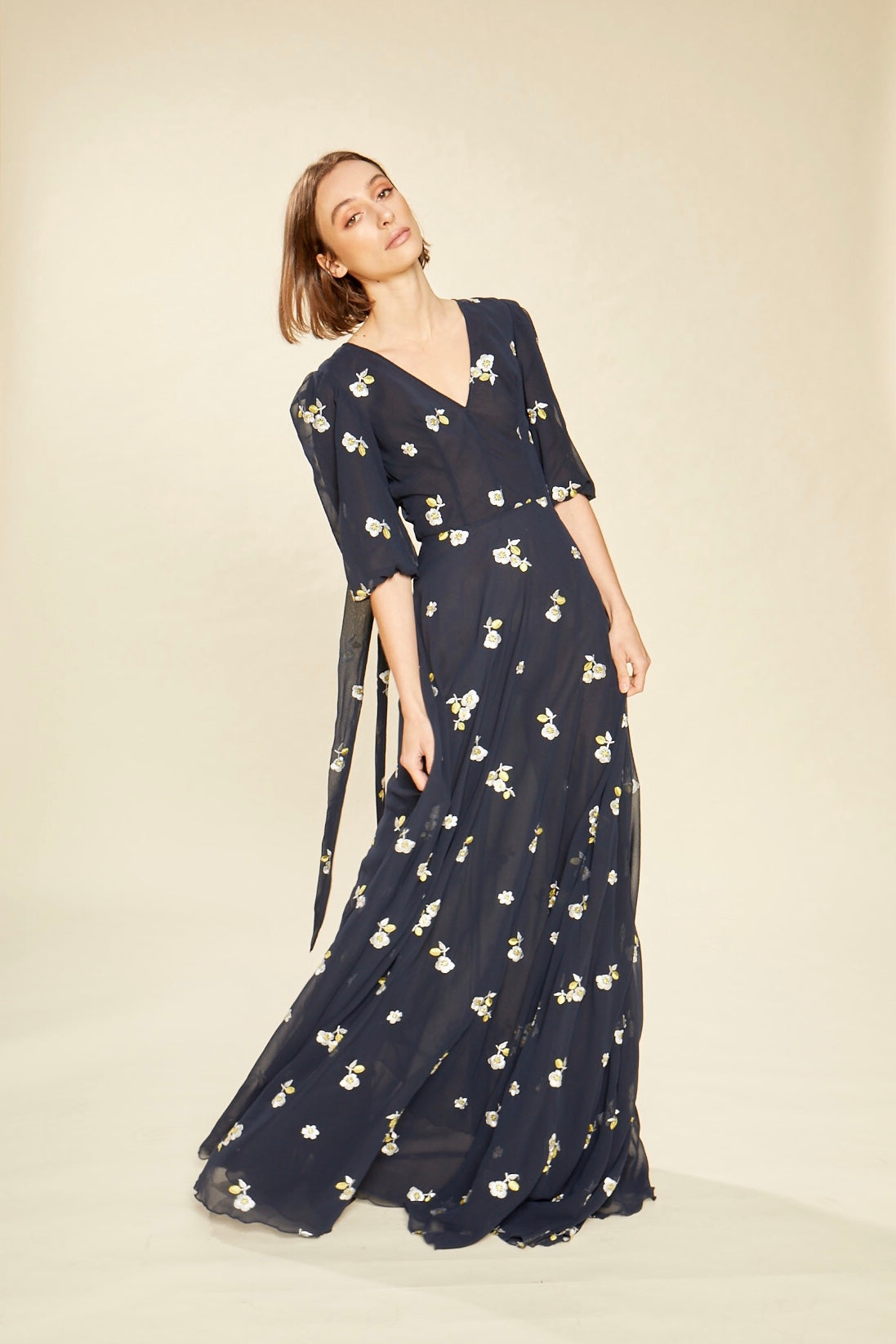 Marigold Floral Embroidered Navy Neck Tie Gown