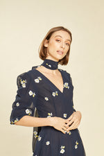 Load image into Gallery viewer, Marigold Floral Embroidered Navy Neck Tie Gown