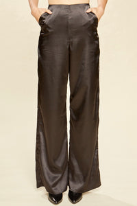 Raven High Waisted Black Satin Trousers