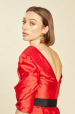 Load image into Gallery viewer, Red Sparrow Silk Pleated Peplum Top