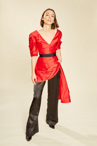 Red Sparrow Silk Pleated Peplum Top